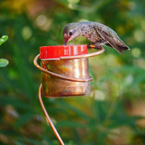 Copper Hummingbird Bee Resistant Stake Feeder
