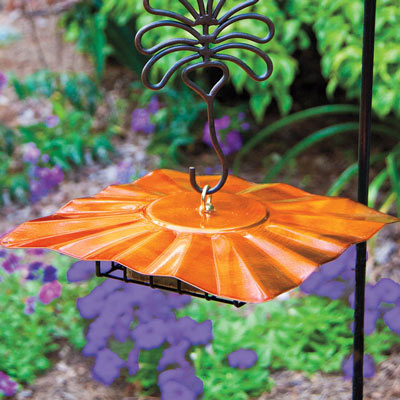 Sheltered Upside-Down Feeder with Fanciful Flower Hook