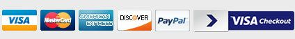 Payment Options - Authentic Secure, Visa, Master Card, American Express, Discover Network, PayPal and Visa Checkout