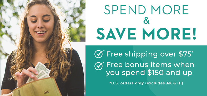 Upgrade your order with Springtime Supplements and get free bonus items when you spend $150 or more.