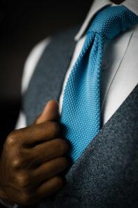 Closeup of the groom's tie