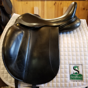 "Vega Dressage Saddle-17""-Medium +4 Panel-Black"