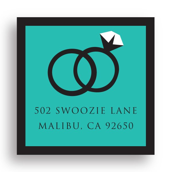 Swoozie's Stickers Bridal - Wedding Rings - Square Return Address