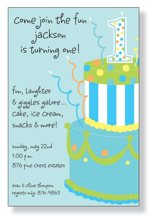 1st Birthday Blue Cake Invitation