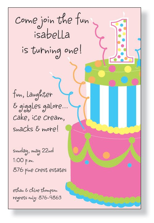 1st Birthday Pink Cake Invitation