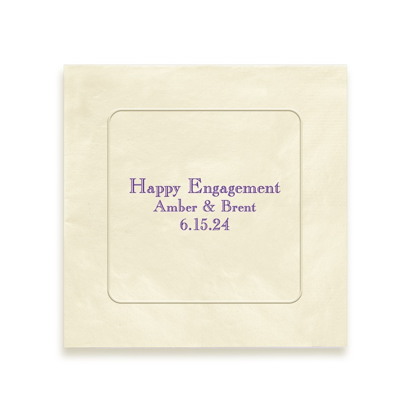 Lavish Embossed Framed Foil Text Beverage Napkins