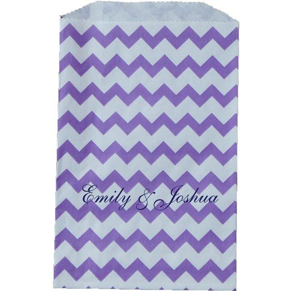 Paper Favor Bag Chevron Purple