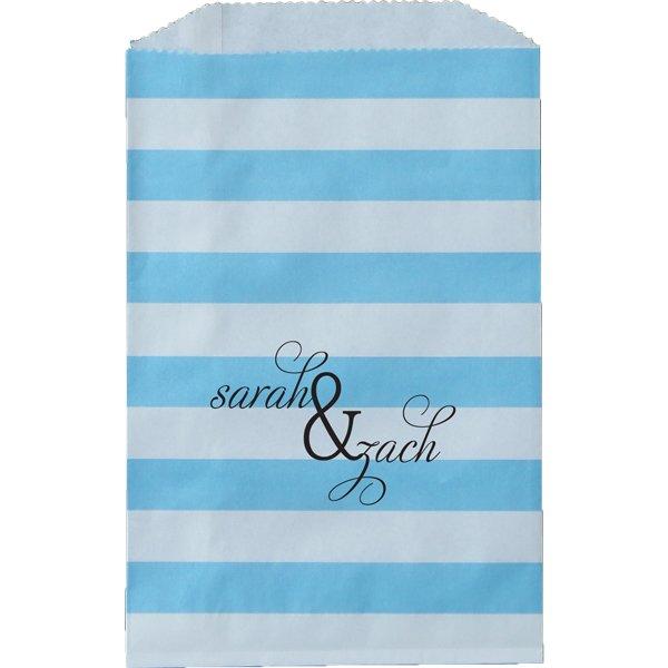 Paper Favor Bag Horizontal Stripe Aqua