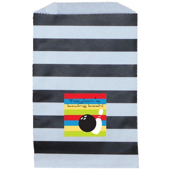 Paper Favor Bag Horizontal Stripe Black