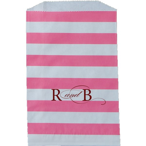 Paper Favor Bag Horizontal Stripe Hot Pink
