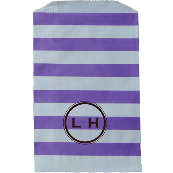 Paper Favor Bag Horizontal Stripe Purple