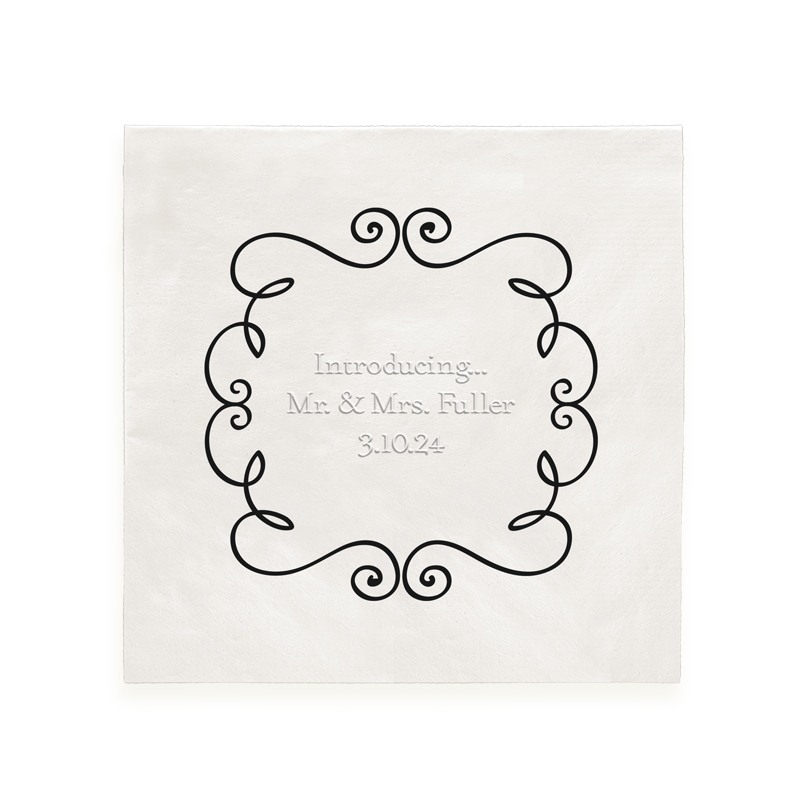 Lavish Foil Framed Embossed Text Beverage Napkins