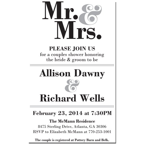 Mr. and Mrs. Invitation