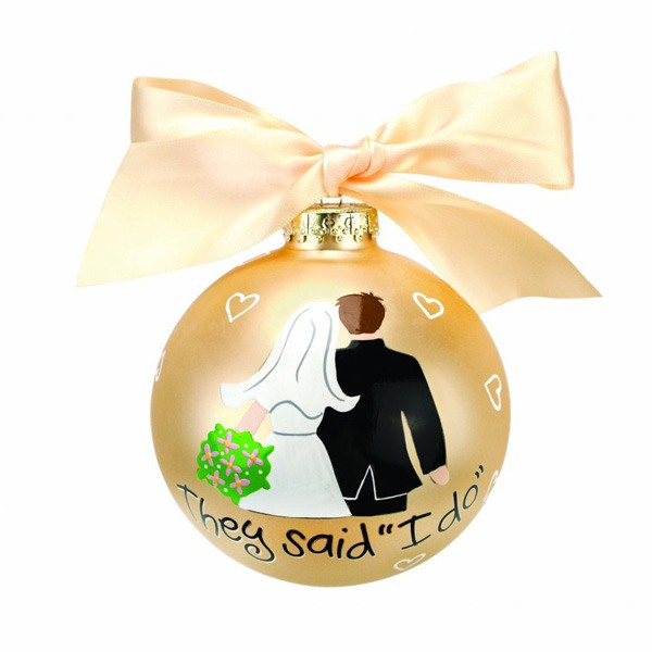 Bride Groom I Do Glass Ornament