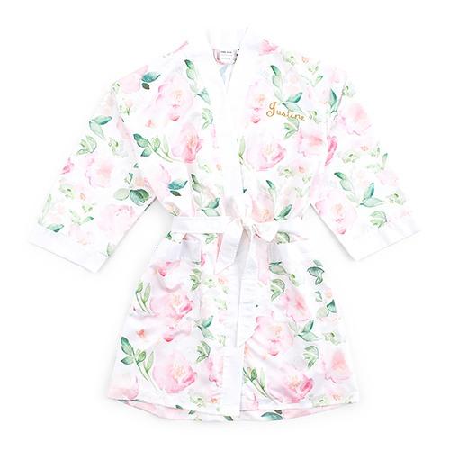 White Watercolor Floral Silky Kimono Robe