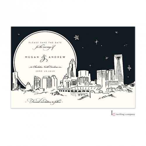 Personalized Skyline Wedding Invitations: Charlotte Skyline Invitation