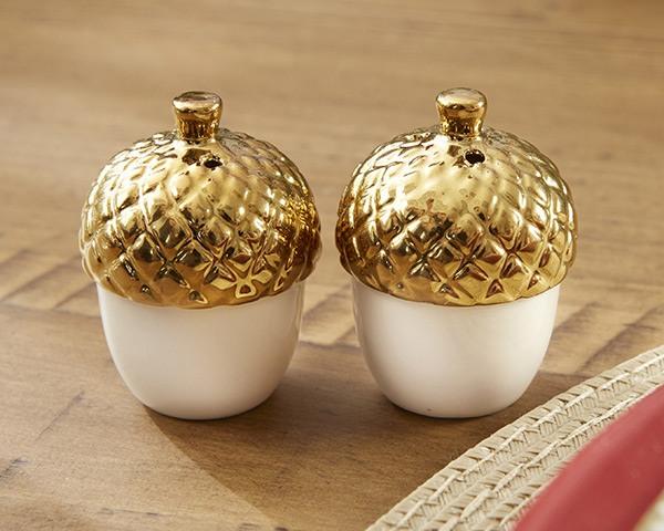 Gold Dipped Ceramic Acorn Salt and Pepper Shakers