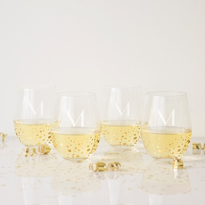 Personalized Gold Dot Stemless Wine Glasses