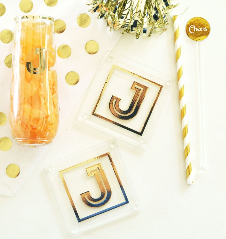 Gold Initial Glass Coasters