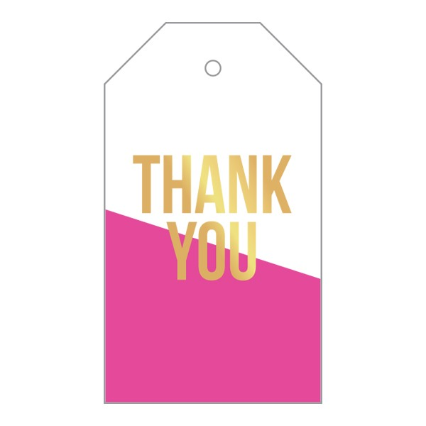 Thank You Pink Dipped Gift Tag