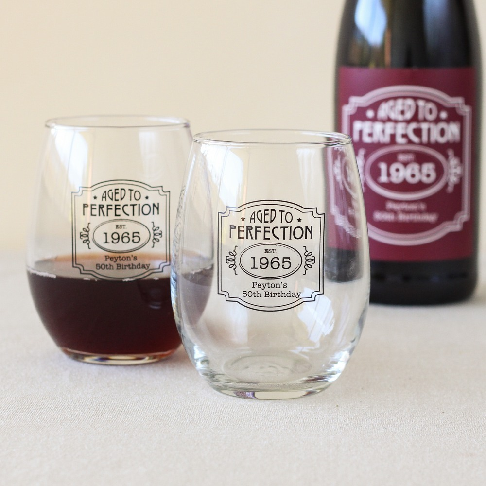 Personalized Aged to Perfection Stemless Wine Glass