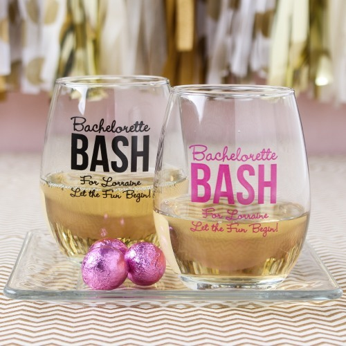 Personalized Bachelorette 9 oz. Stemless Wine Glass