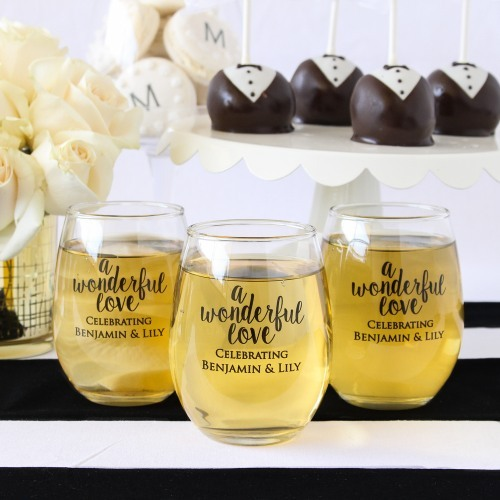 Personalized Wedding 9 oz. Stemless Wine Glass