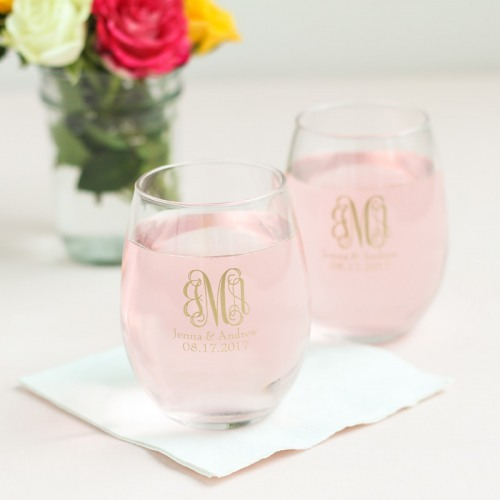 Personalized Monogrammed 9 oz. Stemless Wine Glass