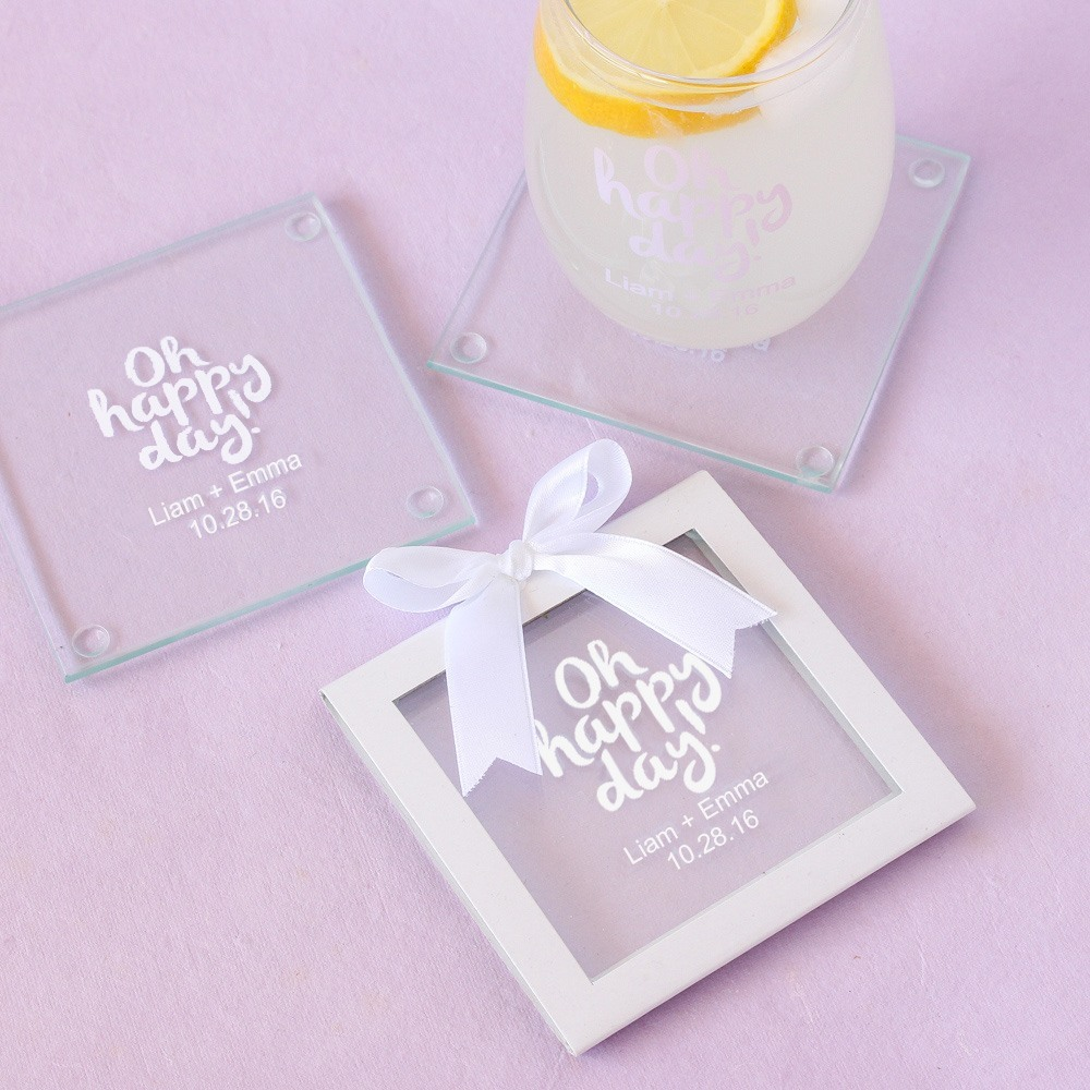 Personalized Wedding Glass Coasters
