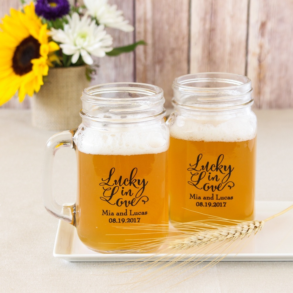 Personalized Bridal Shower Printed Mason Jar Mug