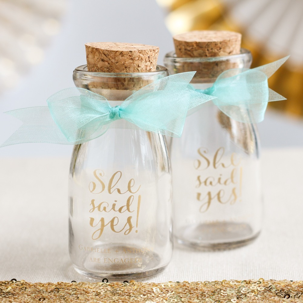 Personalized Bridal Shower Vintage Milk Jars