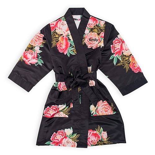 Black Blissful Blooms Silky Kimono Robe