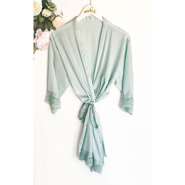 Mint Satin Lace Robe