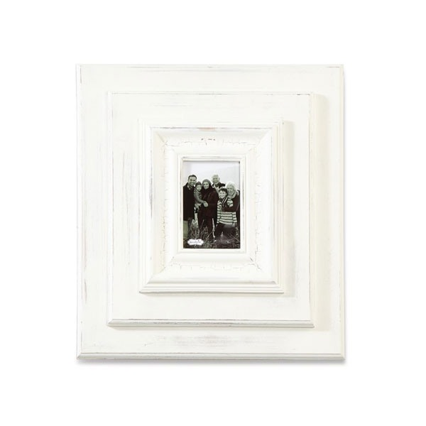 "19"" X 17"" White-Washed Wooden Wall Frame"