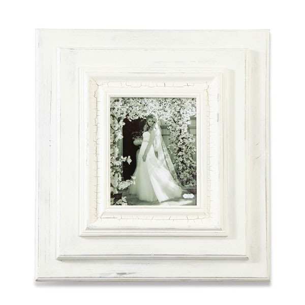 "23"" X 21"" White-Washed Wooden Wall Frame"