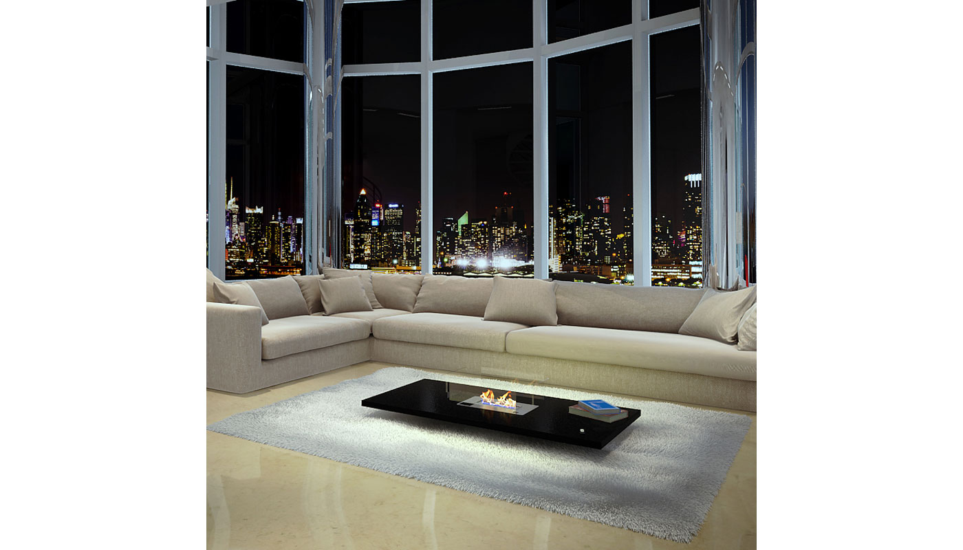 Lou Coffee Table with Integrated Ethanol Fireplace