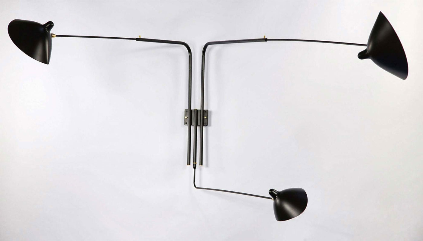 Serge Mouille 3 Arm Rotating Sconce