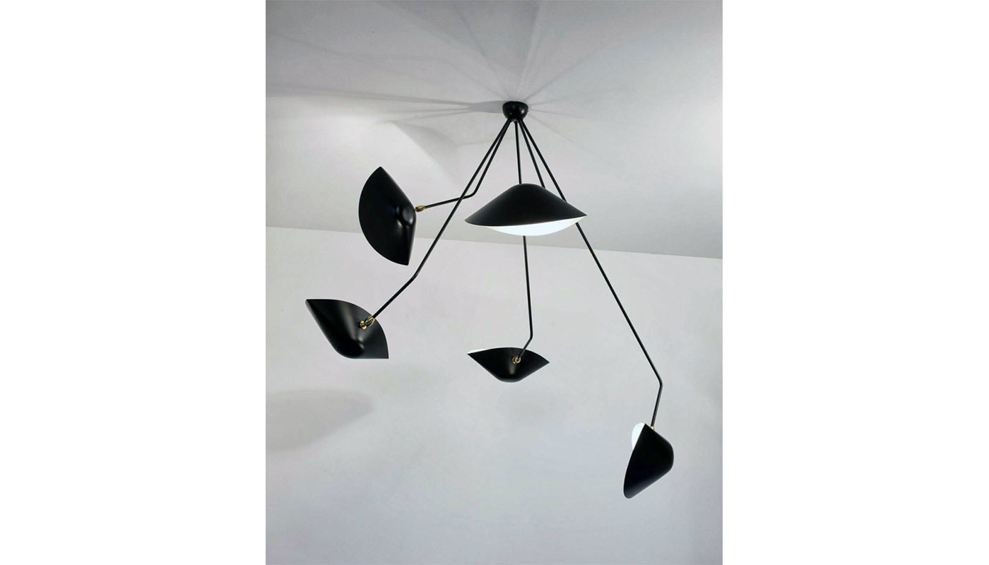 Serge Mouille 5 Arm Spider Ceiling Light - Angled