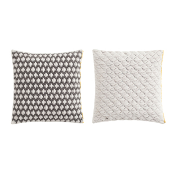 Silai Pillow - Dark Gray - White