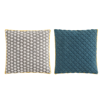Silai Pillow - Light Gray - Blue