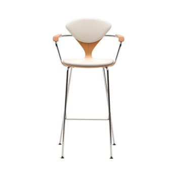 Metal Base Stool with Arms - Uphol. Seat & Back