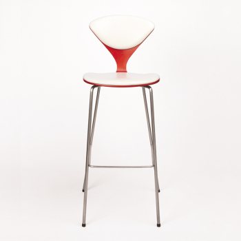 Metal Base Stool - Uphol. Seat & Back