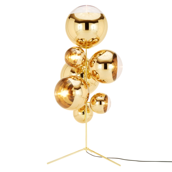 Mirror Ball Stand Chandelier Floor Lamp - Gold