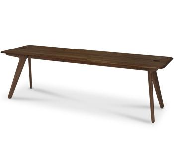 Slab 2-Person Desk - Fumed Oak