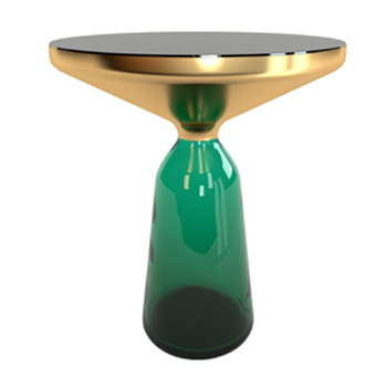 Bell Small Table - Glass Top - Green Base - In Our Showroom