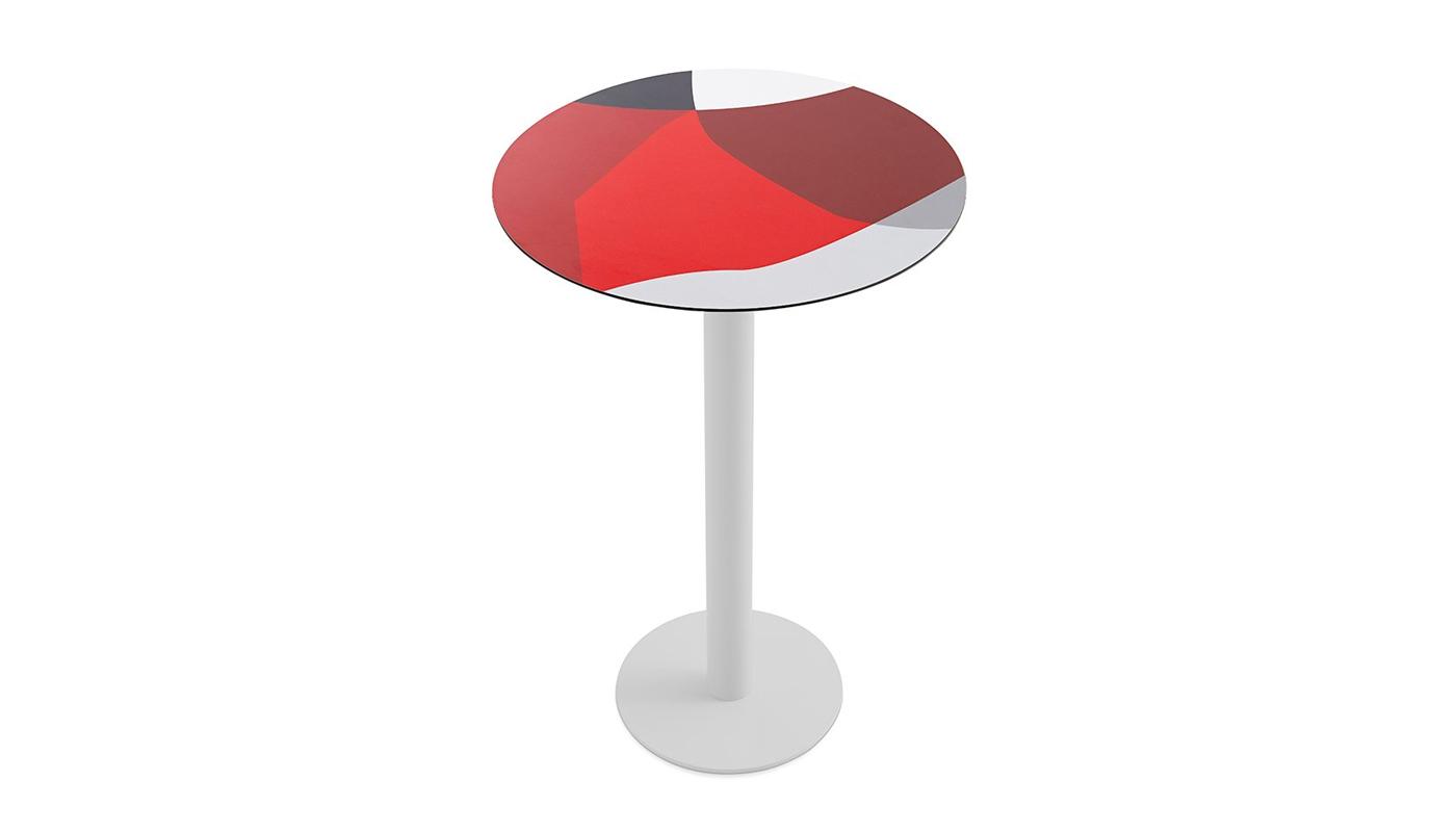 Abstrakt Mona Bar Table - Red
