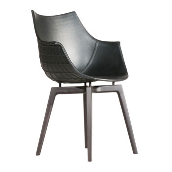 Meridiana Leather Dining Chair - Wood Legs