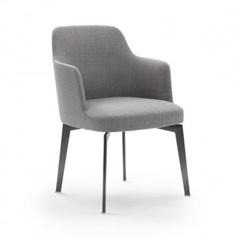 Leda Dining Chair with Arms - Metal