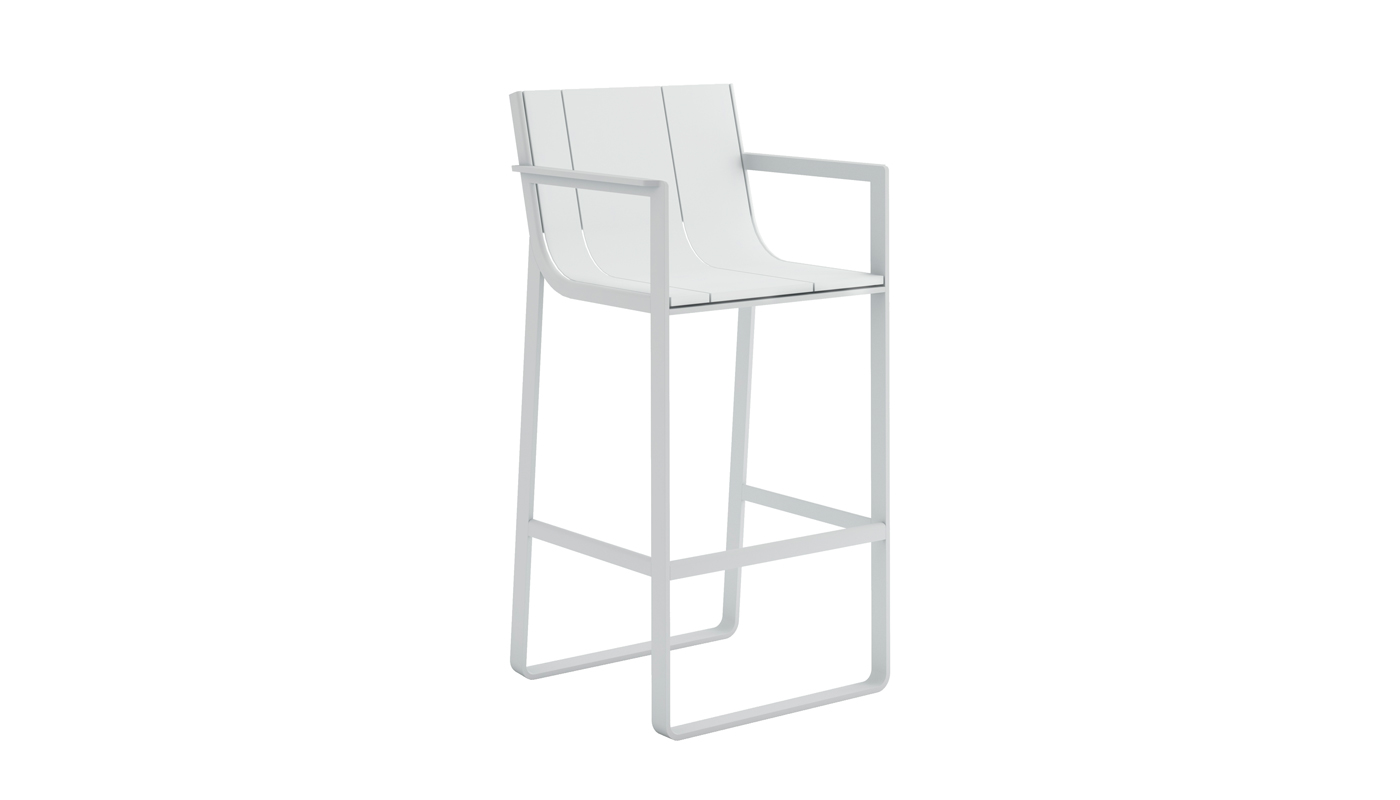 Flat Bar Stool with High Backrest and Arms
