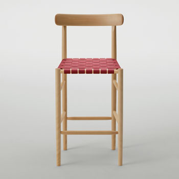 Lightwood Counter Stool - Webbed with Back